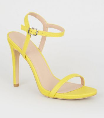 Yellow Faux Snake Stiletto Heel Sandals