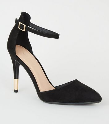 Black Suedette Ankle Strap Stiletto Courts