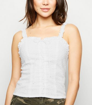 White Broderie Lace Up Cami