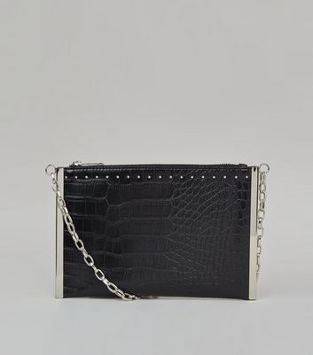 Black Faux Croc Metal Bar Cross Body Bag