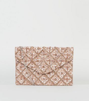 Rose Gold Sequin Bead Clutch