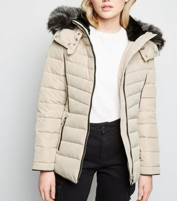 Cream Faux Fur Hood Padded Puffer Jacket