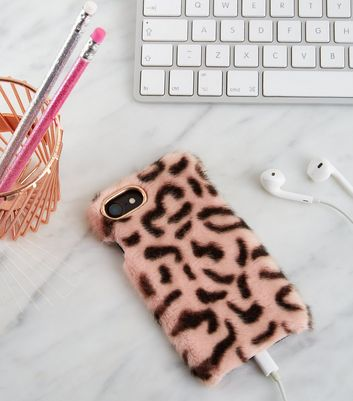 Pink Faux Leopard Fur iPhone 6/6s/7/8 Case