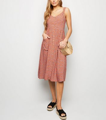 Orange Ditsy Floral Button Front Midi Dress
