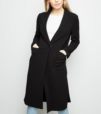 Black Pocket Front Duster Jacket