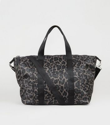 Grey Leopard Print Overnight Holdall Bag
