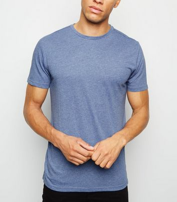 Blue Marl Crew Neck Cotton T-Shirt