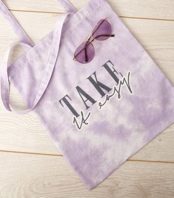 Lilac Tie Dye Take It Easy Slogan Bag