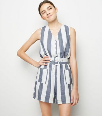 Girls Blue Stripe Linen Blend Playsuit
