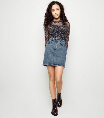 Girls Blue Acid Wash Ring Zip Denim Skirt