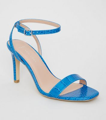 Wide Fit Bright Blue Faux Croc Heels