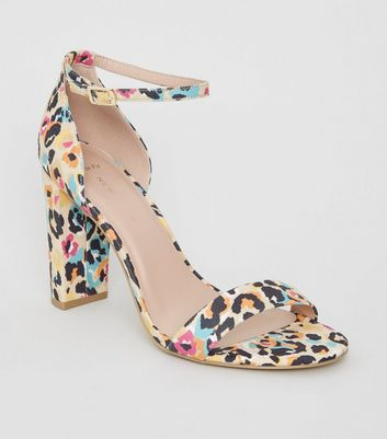 Wide Fit Multicoloured Leopard Print Block Heels