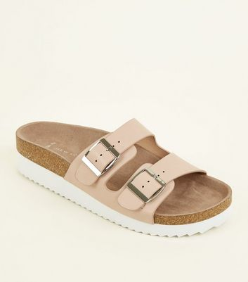 Wide Fit Nude Leather-Look Chunky Footbed Sliders