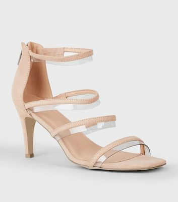 Wide Fit Nude Clear Multi Strap Sandals