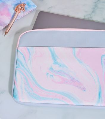 "Grey and Pink Marble Effect 15"" Laptop Case"