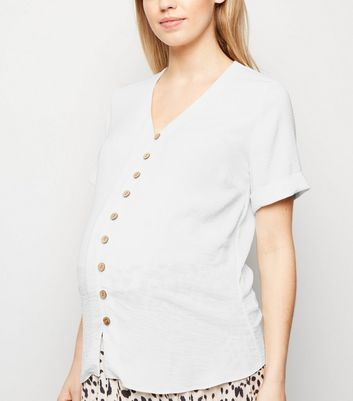 Maternity Off White Button Front Short Sleeve Shirt