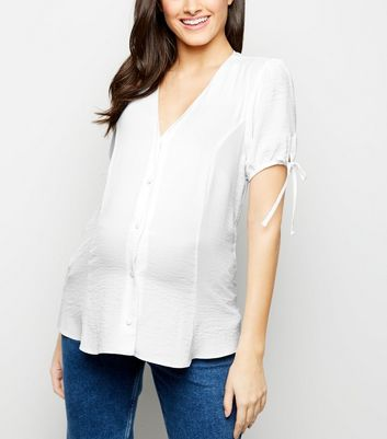 Maternity Off White Tie Sleeve Button Front Blouse