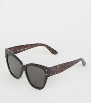 Black Snake Print Oversized Cat Eye Sunglasses