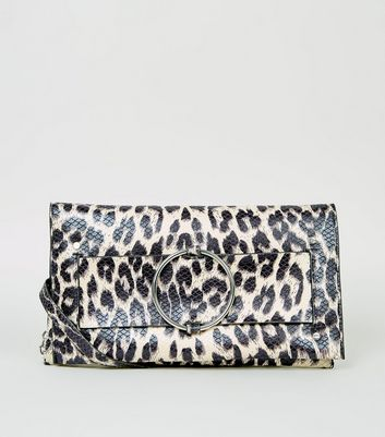 Brown Leopard Print Faux Snake Clutch