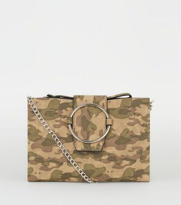 Green Camo Ring Front Shoulder Bag
