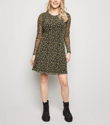 Petite Black Floral Long Sleeve Mesh Dress