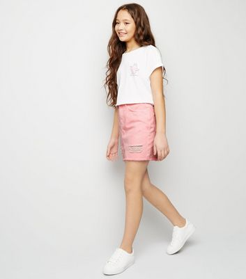 Girls Pink Ripped Denim Mom Skirt
