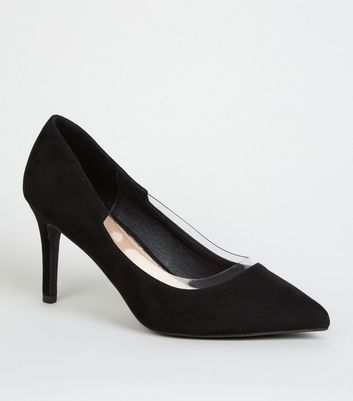 Wide Fit Black Suedette Clear Panel Court Shoes