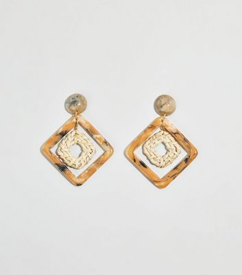 Brown Resin and Woven Square Drop Earrings