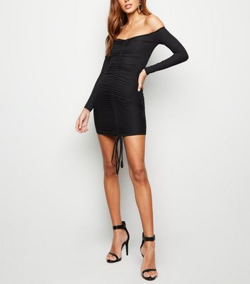 Black Ribbed Ruched Front Bodycon Dress