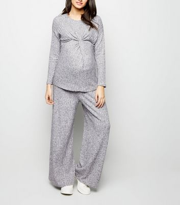 Maternity Pale Grey Ribbed Knit Trousers