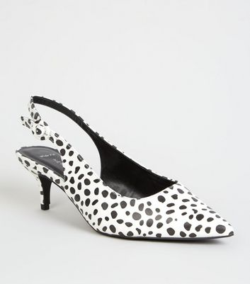 Wide Fit Black Wide Fit Animal Print Slingbacks
