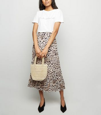 Petite Brown Leopard Print Pleated Midi Skirt