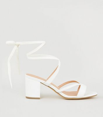 Wide Fit White Leather-Look Ankle Tie Sandals