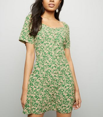 Petite Green Floral Button Square Neck Dress
