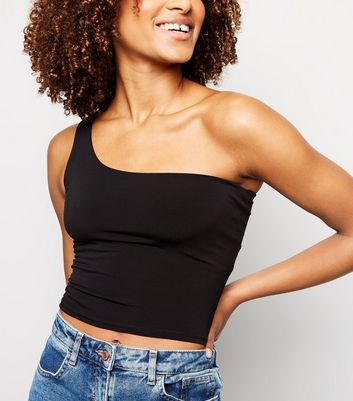 Black One Shoulder Slinky Crop Top