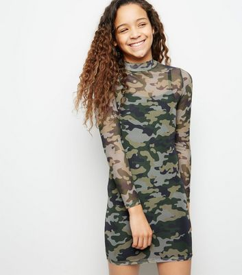 Girls Green Camo Mesh High Neck Bodycon Dress