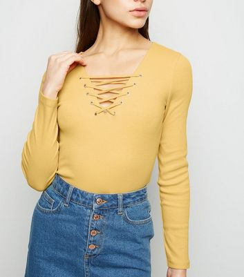 Petite Mustard Lattice Front Long Sleeve Top