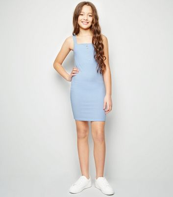 Girls Blue Zip Front Bodycon Dress