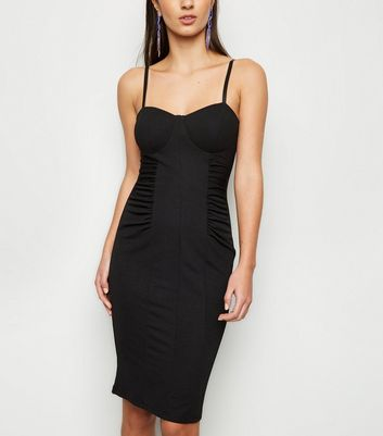 Black Ruched Sides Bodycon Dress