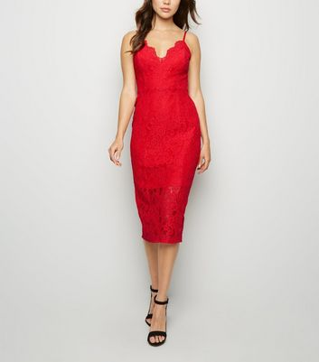 Red Lace Scallop Neck Midi Dress