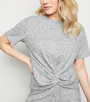 Petite Grey Marl Ribbed Twist Front Top
