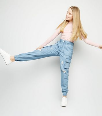 Girls Pale Blue Ripped Denim Utility Trousers