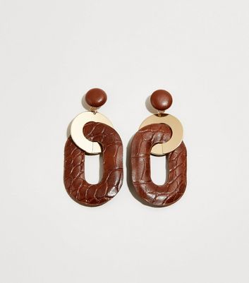 Brown Faux Croc Interlinked Earrings