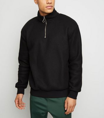 Black Ring Zip Neck Fleece Sweatshirt