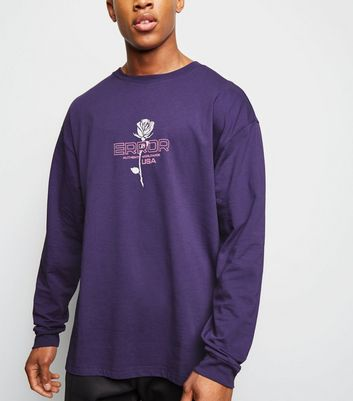 Purple Error Slogan Long Sleeve T-Shirt