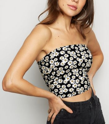 Black Daisy Print Bandeau Crop Top