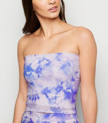Blue Tie Dye Bandeau Crop Top