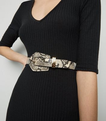 Pale Pink Faux Snake Hexagon Buckle Belt