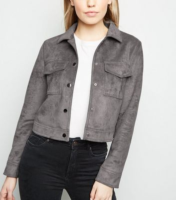 Grey Suedette Trucker Jacket