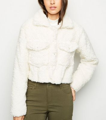 Cameo Rose Cream Faux Fur Trucker Jacket
